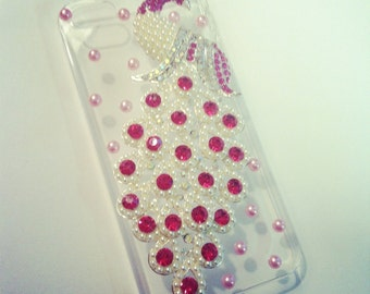 SALE- iPhone 5 Sparkling Hot Pink Jeweled Pearl Peacock Rhinestone bling case