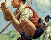 Boy and Dog Fishing, Baiting the Hook, WORMS,  1930s RESTORED Print, Gift for Fisherman, Little Boy's Room Print #22