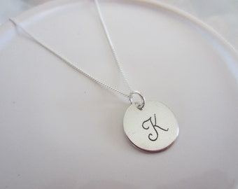 Initial Charm Necklace, Initial Jewelry, Personalized Jewelry, Hand Stamped Jewelry, Sterling Silver Jewelry, Silver Necklace