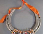 Good Luck Authentic Thoroughbred Race Horse Decorated Horseshoe - Orange Beads & Ribbon - Lucky Charm
