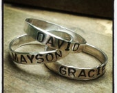 Stamped Name Rings Personalized Custom Mommy Ring