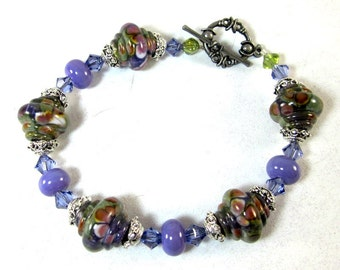 Purple Lampwork Bracelet, Beaded Bracelet, Beadwork  Bracelet, Gifts for Her, Women's Jewelry, Beaded Jewelry
