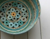 Recycled Coiled Paper Basket Bowl, Handmade - Shades of Aqua and Teal, 5 inch Diameter