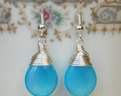 Light Blue Earrings , Blue Opalized Earrings , Silver Blue Dangle Earrings , Wire Wrapped