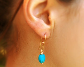 Gold turquoise earrings, 14k gold filled, dangle earrings, sterling silver earrings, simple earrings, bridesmaid gift