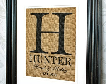 Monogrammed Burlap Wedding Gift, Newlywed Gift, Personalized Gift for Couples