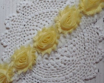 """1 Yard Chiffon Shabby Rose Light Yellow 2.5"""""""