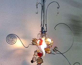 Wire hanging pendant lamp, red and transparent marbles, handmade