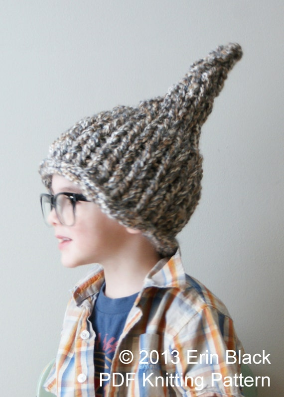 Knitting Pattern For Gnome Hat : DIY Knitting PATTERN Chunky Gnome Hat in Toddler Child and