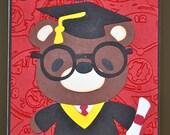 Graduation day Teddy bear cap gown and diploma congratulations card