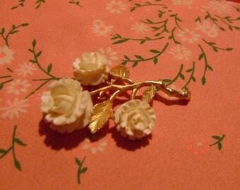 Ledo Ivory Rose Pin / Brooch Vintage