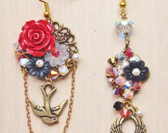 Nautical Romance Statement Earrings - Romantic Vintage Tattoo Jewelry - brass tattoo swallow & winged heart charms, red coral rose cabochon