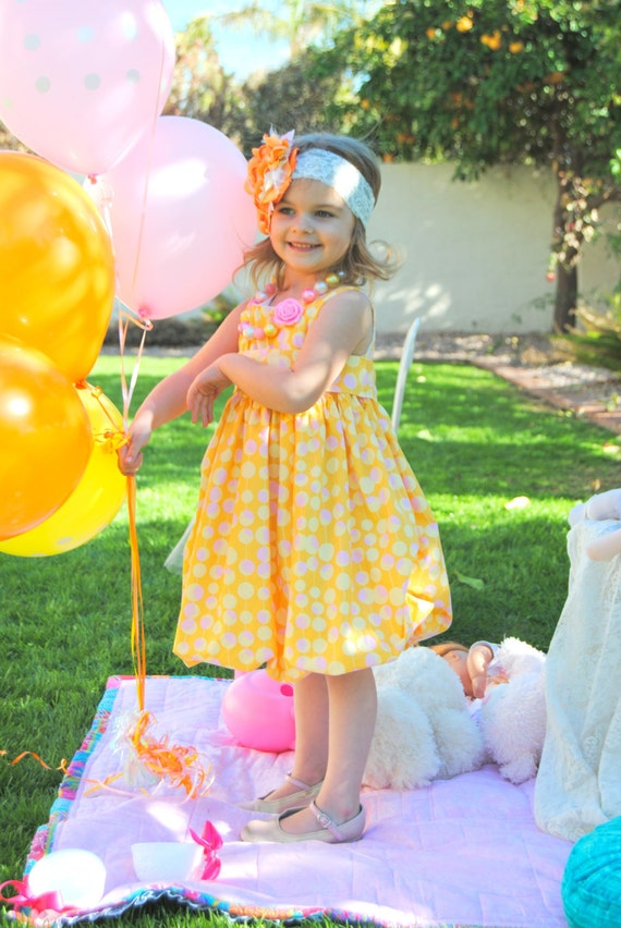 RESERVED Girls Bubble Dress, Summer, Spring, Special Occasion Outfit, Photos, Birthday Party, Wedding, Mustard, Yellow, PInk Polka Dots