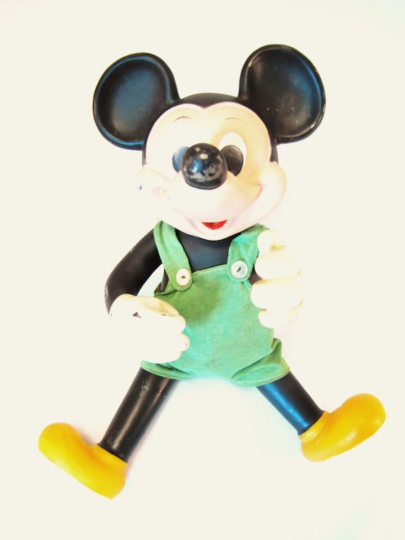 Vintage Mickey Mouse Doll. Toy. Collectible. Retro Disney. Green and black. Rare