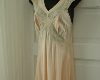 Vintage 1940's Peignoir Set by Miss Elaine Pink Night Gown, Dress with Matching Jacket