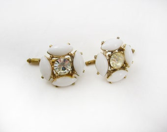 Milk Glass Cufflinks * Vintage Rhinestone jewelry * Ladies Stud * Slide Backs * Anniversary Birthday Wedding