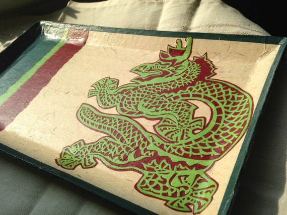 Dragon Korean Hanji Paper Tray Vide-Poche Rectangular Handmade Korea Asian Decor