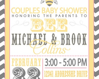 ON SALE! Couples baby Shower Invitation- Parents to BEE