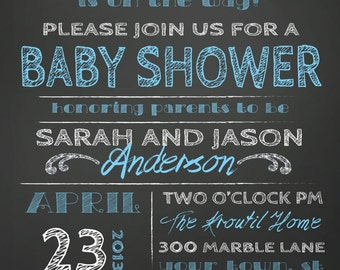 COUPLES BABY SHOWER invitation - chalkboard little man