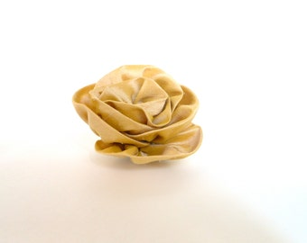 Silk rose pin - brooche - yellow
