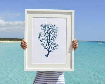 Blue branched coral Antique sealife Illustration - Wall decor Poster A3 Plus size  , A3 Marine Poster - sea life poster SPP074