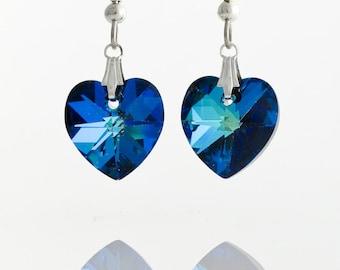 Cobalt Blue - Bermuda Blue Heart earrings on Sterling Silver 925,  14mm Heart Swarovski Crystal Element, Valentine gift idea, Bermuda hearts