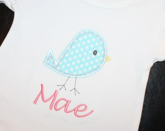 Personalized Short-Sleeve Shirt with Birdie Applique