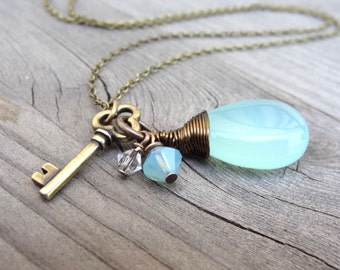 Bronze Wire Wrapped Aqua Blue Chalcedony with Crystal Beads & Key Charm Handmade Necklace