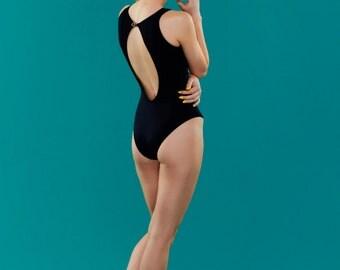 NOIR: Black Hi-collar one piece swimsuit