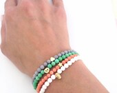 Beaded bracelet - Choose your charm bracelet, White Coral - Friendship bracelet - Semi precious stone - Heart, Skull, Star, Tiny Skull