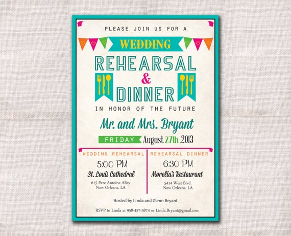 Wedding Welcome Dinner Invitation Wording: Fiesta Wedding Rehearsal Dinner Invitation Custom Printable