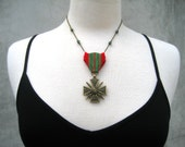 French Necklace - Croix De Guerre  War medal - Upcycled War Medal Necklace - France - Eiffel Tower