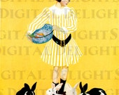 Bright Yellow Spring Bunnies. VINTAGE Rabbit Illustration. Bunny Digital Download. Coles Phillips Print