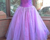 Special Vintage ballgown prom spcial occasion purple layers of diamante net  size-uk10 usa size8