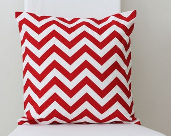 SALE || Cushion Cover || Distressed Red Chevron || 40cm x 40cm
