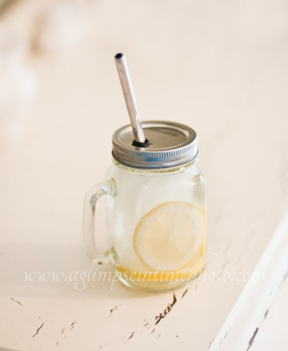 Set of 6 Handled Mason Jar To Go Cup With Stainless Steel Straw 16oz Eco Friendly