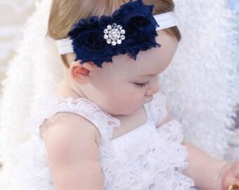 Navy Blue Baby Headband Shabby chic Headband Newborn toddler girl Headband