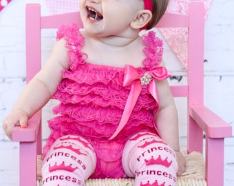 Princess Leg Warmers leggings baby girl Ruffled Tulle Pants Birthday Outfit Hot pink