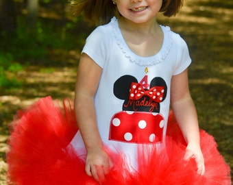 Minnie Mouse Inspired Red Birthday Cake Tutu Dress Infant Toddlers Girls