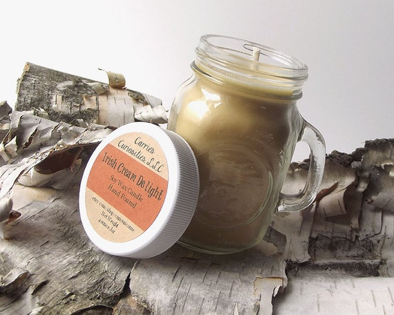 Soy Candle scented with Irish Cream Delight -- 4 ounce Jar