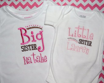 Personalized Sibling Big Sister/Little Sister Embroidered Shirt/Bodysuit Sisters Set - Pink