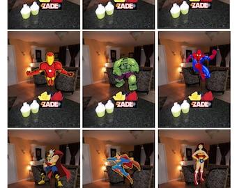 "DIY 12"" Small Superhero Birthday Party Centerpieces with FREE Supply Kit baby shower wonder woman batman spiderman superman Super Hero"