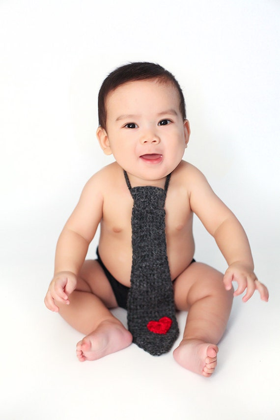 Items similar to valentine baby child crochet necktievalentine photo prop newborn photography custom made on etsy