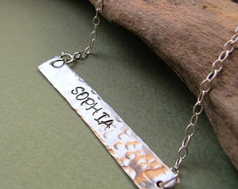 Special Phrase Pendant - Rectangular Hand Stamped Bar Pendant Necklace Sterling Silver  22 inch chain