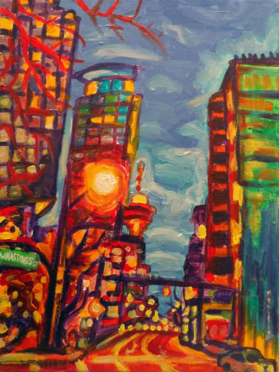 """ORIGINAL acrylic painting on stretched canvas - Harbour Centre From West Hastings - 14"""" x 18"""""""