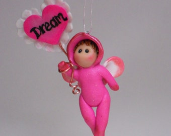 hot pink polymer clay fairy cupid hanging ornament gift or keepsake