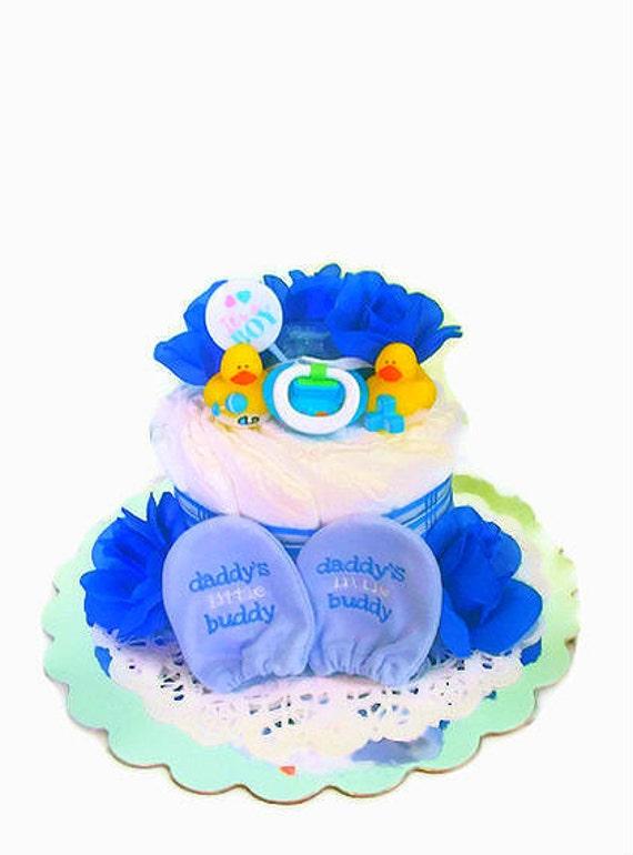 Boy Diaper Cake, Miniature Diaper Cake for Boy, Daddy's Buddy Boy Diaper Cake
