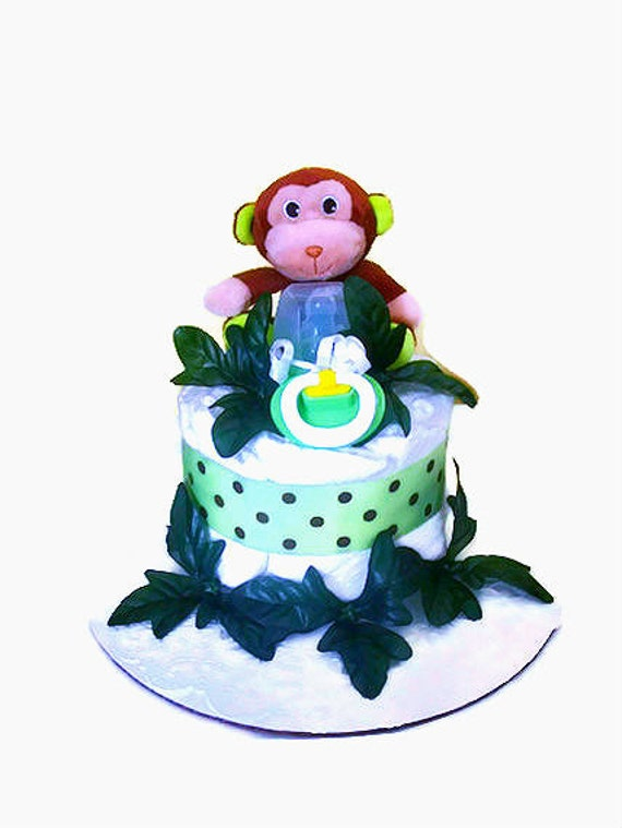 Green Jungle Diaper Cake, Monkey Diaper Cake, Diaper Cake for Boy, Miniature Diaper Cake