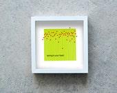 Red hearts art print, green print, flowers wall art, heart flowers, love print