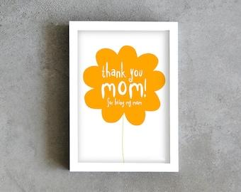 Thank you mom art print, mothers day print, mom poster, yellow flower art print, mom love print decoration, wall art